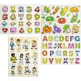 YOTINO Puzzles en Bois Alphabet Chiffres et Légumes, Puzzle en Bois Coloré pour Jouet Éducatif Apprentissage Enfants 2 Ans