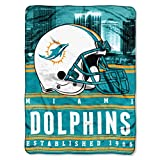 Officially Licensed NFL Miami Dolphins 'Stacked' Silk Touch Throw Blanket, 60' x 80', Multi Color