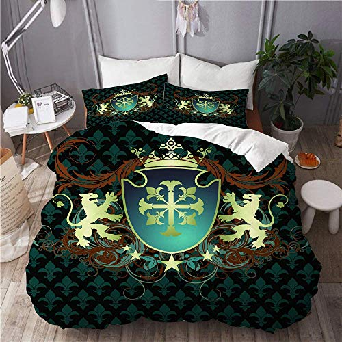 993 Mikrofaser,Heraldisches Design aus dem Mittelalter Wappen Crown Lions and Swirls Design,1 Bettbezug 220x240 + 2 Kopfkissenbezug