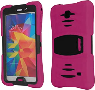 Galaxy Tab 4 7.0 2014 T230 Case, KIQ Shockproof Full-Body Military Drop Proof Heavy Duty Cover Kickstand Screen Protector for Samsung Galaxy Tab 4 7 SM-T230 SM-T230NU (Armor Hot Pink)