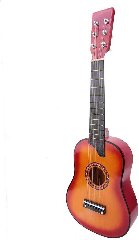 Guitarra para niños, Guitarra clásica de madera portátil Mini guitarra de alta calidad hermosa para el niño para jugar (color puesta del sol)