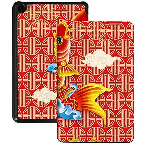 Colorful Star Funda delgada para tablet Kindle Fire 7 (9ª generación, lanzamiento 2019) – Funda de piel sintética plegable con soporte para múltiples ángulos de visión para tablet Fire 7 – Lucky Carp