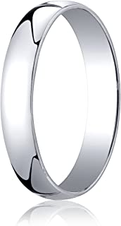 Men's 14K White Gold 4mm Low Dome Light Comfort Fit Wedding Band Ring