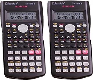 CUGBO Engineering Scientific Calculator, 2-Line Display Multifunctional Calculator for Student and Teacher, 2 Pack Black