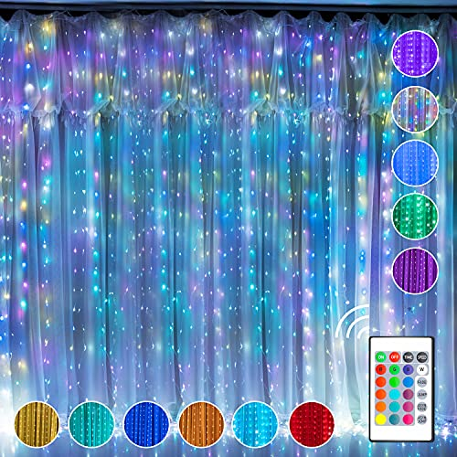Curtain Fairy Lights Window String Light,16 Colour Changing Twinkle Lights, 300 RGB USB Powered Waterproof LED Light with Remote Control & Timer for Valentine's Day Bedroom Wedding Party Christmas