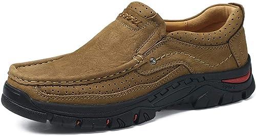 HAPPY LEMON Chaussures Oxford Durable Mode Décontracté Oxfords Extérieurs pour Hommes Escalade Chaussures De Randonnée Glissent en Cuir Véritable Perforé Grand Bout Rond Antislip Outsole Mode Durable