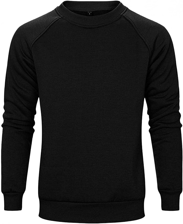 Sweatshirts for Men,Casual Plain Crewneck Sweatshirt Long Sleeve T-shirt Athletic Hoodies Sport Pullover Tops