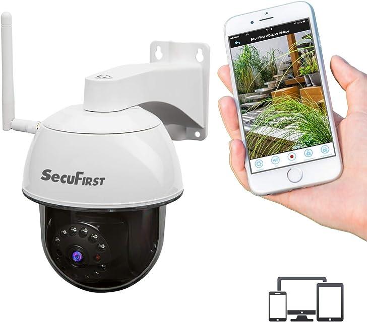 SecuFirst IP Dome Cámara Outdoor (IP66) Inalámbrica PTZ Funcion WiFi/LAN Full HD 1080p Visión Nocturna imagenes Ver con aplicación la App sin costos Ocultos con Gratis Tarjeta MicroSD (32GB)