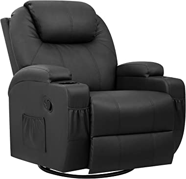 Pawnova PU Leather Chair with Massage Function, Adjustable Home Theater Single Recliner Thick Seat and Backrest, 360°Swivel a