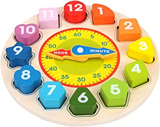 LITTLEFUN Wooden Shape Sorting Blocks Teaching Puzzle Clock Toys for Toddlers Girls Boys - Perfect Learning Toy