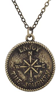 Burnish Gold Tone Enjoy The Journey Wanderlust Compass Necklace