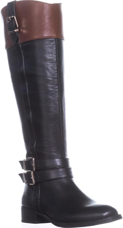 INC International Concepts I35 FrankII Buckle Riding Boots, Black Cognac, 5 US