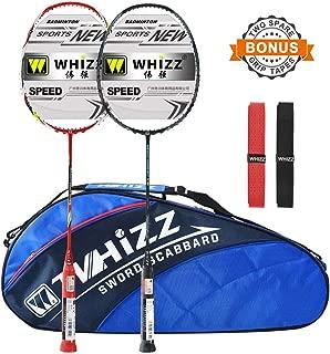 WHIZZ 2 PCS 100% Graphite Badminton Racket Set, Large Badminton Bag / 2 Grip Tapes Included (Black+Red)