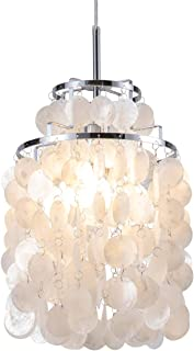 Modern Capiz Pendant Light Modern Coastal Shells Drops Chandeliers Contemporary Mini Hanging Ceiling Lighting for Kitchen Island Dining Living Room Bedroom White by Bewamf