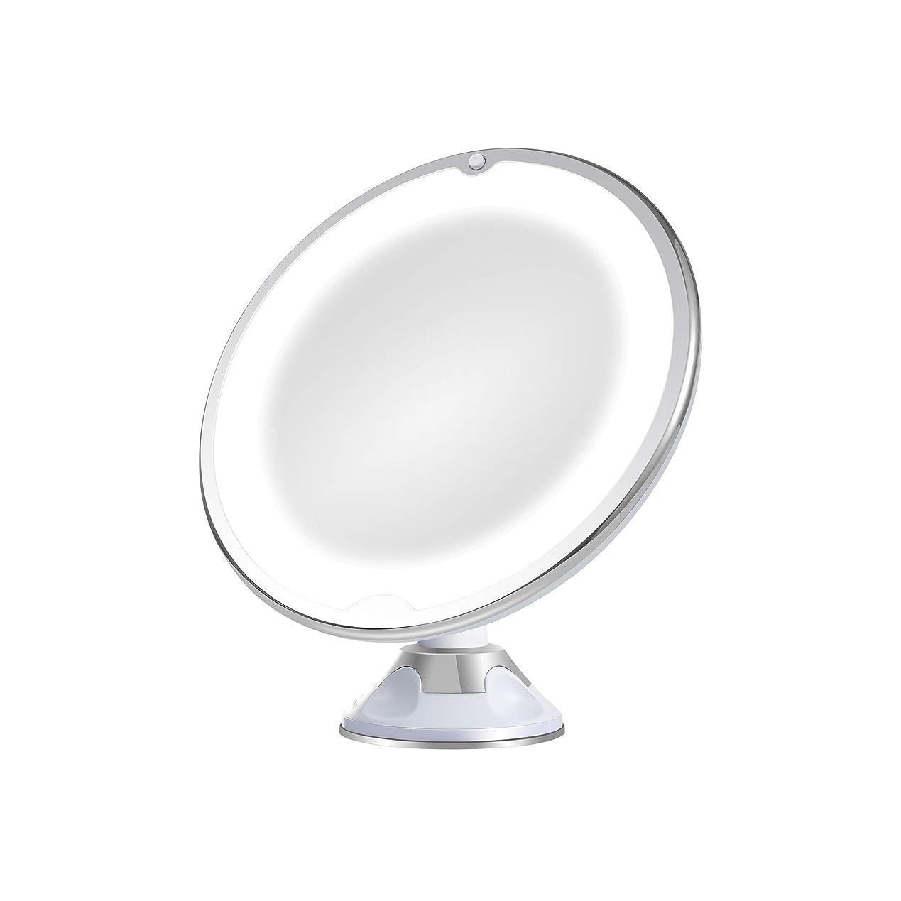 ハントハドル例外LED化粧鏡 10倍拡大鏡 浴室鏡 毛穴 卓上化粧ミラー 360度回転 明るさ調節可能 壁掛け 吸盤ロック付き