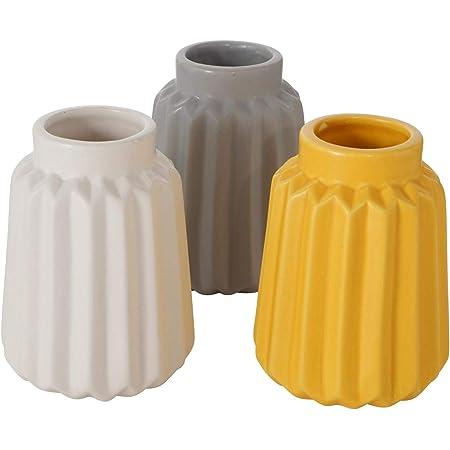/Ø 8,5cm CasaJame 3 x Pots de Fleurs Vases de Table en C/éramique pour Plantes Terre Cuite Blanc Vert Clair Fonc/é Hauteur 18cm Jardini/ères D/écoratives en Porcelaine avec Structure en Relief