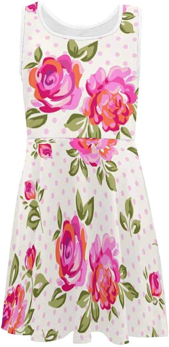 InterestPrint Girls Sleeveless Casual Dresses School Party Beach Little Rose (2T-XL)