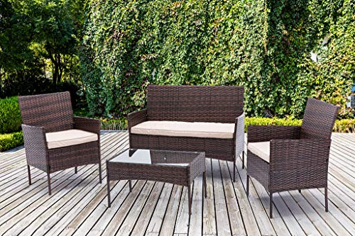 4pcs Rattan Outdoor Garden furniture sofa set with 2x Armchairs 1x Double Sofa & 1 table for indoor & outdoor (Roger)...