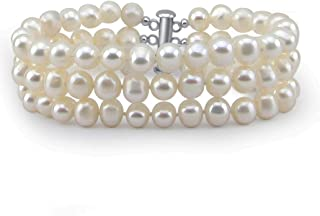 3-Row White A Grade 6.5-7mm Freshwater Cultured Pearl Bracelet With rhodium plated base metal Clasp, 7.5 Inches