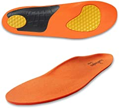 Footlogics Full-Length Soccer & Football Orthotic Shoe Insoles with Arch Support for Heel Pain, Ball of Foot Pain (Metatarsalgia), Flat Feet - Pair, L