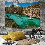 Yaoni Tapestry Pared paño Mantel Toalla de Playa,Naturaleza, pequeño yate flotando en el mar Mallorca España Rocky Hills Forest Trees Vis,Decoraciones para el hogar para la Sala de Estar Dormitorio