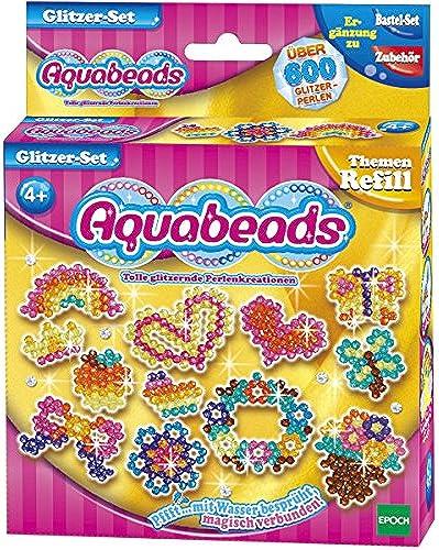Aquabeads Glitzer-Set, 600 Perlen in 8 Farben, Erg ungsset, Glitzerperlen