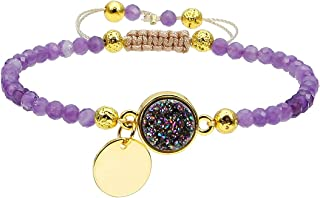Nupuyai 4mm Faceted Stone Beads Bracelet for Women Men, Adjustable Healing Crystal Chakra Bracelet with Druzy Round Charms