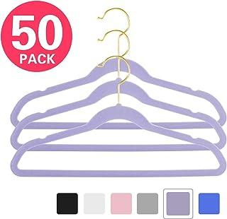 """MIZGI Premium Kids Velvet Hangers (Pack of 50) 14"""" Wide with Gold Hooks,Space Saving Ultrathin,Nonslip Hangers use for Petite Junior Children's Skirt Dress Pants,Clothes Hangers (Purple)"""