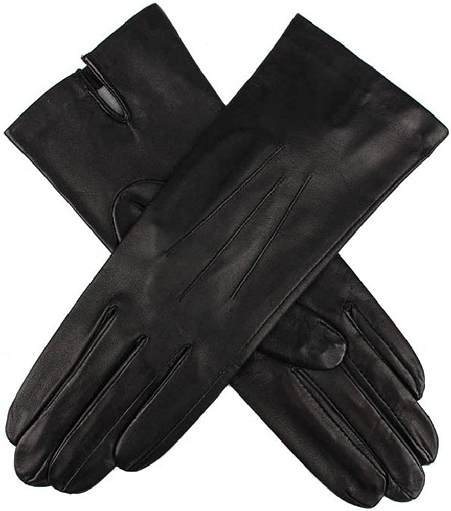 Dents Womens Felicity Silk Lined Plain Hairsheep Leather Gloves - Black