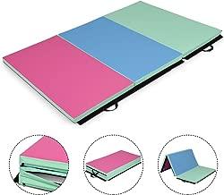 Giantex 6'x4'x2 Gymnastics Mat, Fri-Fold Folding Anti-Tear Tumbling Mat w/Carrying Handles and Velcro, Lightweight Gymnastics Panel Mat, Folding Exercise Aerobics Mats for Gym Home