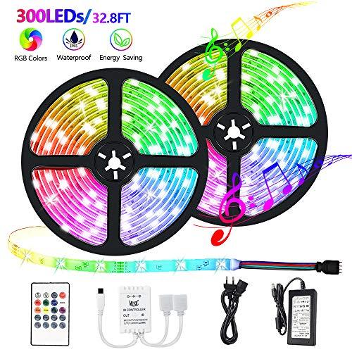 IKERY LED Strip Lichtband,RGB LED Streifen10M, IP65 Wasserdichte LED Lichterkette,Bunt,LED Lichtleiste Dimmbar Beleuchtung,Selbstklebende,Sync mit Musik ,Flexibel LED Band, mit Fernbedienung