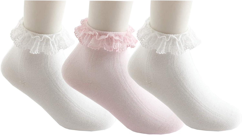 Infant Toddlers Cotton Eyelet Frilly Socks,Ruffle Dress Lace Socks Girls 3 Pack