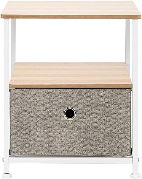 Nightstand Bedside Table 1 Drawer Storage Shelf Accent End Table Chest Steel Frame Wood Top Easy Pull Fabric Bins For Home Bedroom Office College Dorm Linen