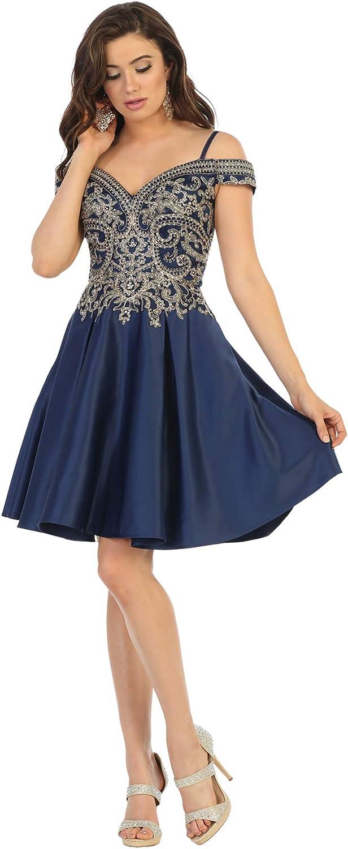 Formal Dress Shops, Inc FDS1661 Off The Shoulder Embroidered Cocktail Dress