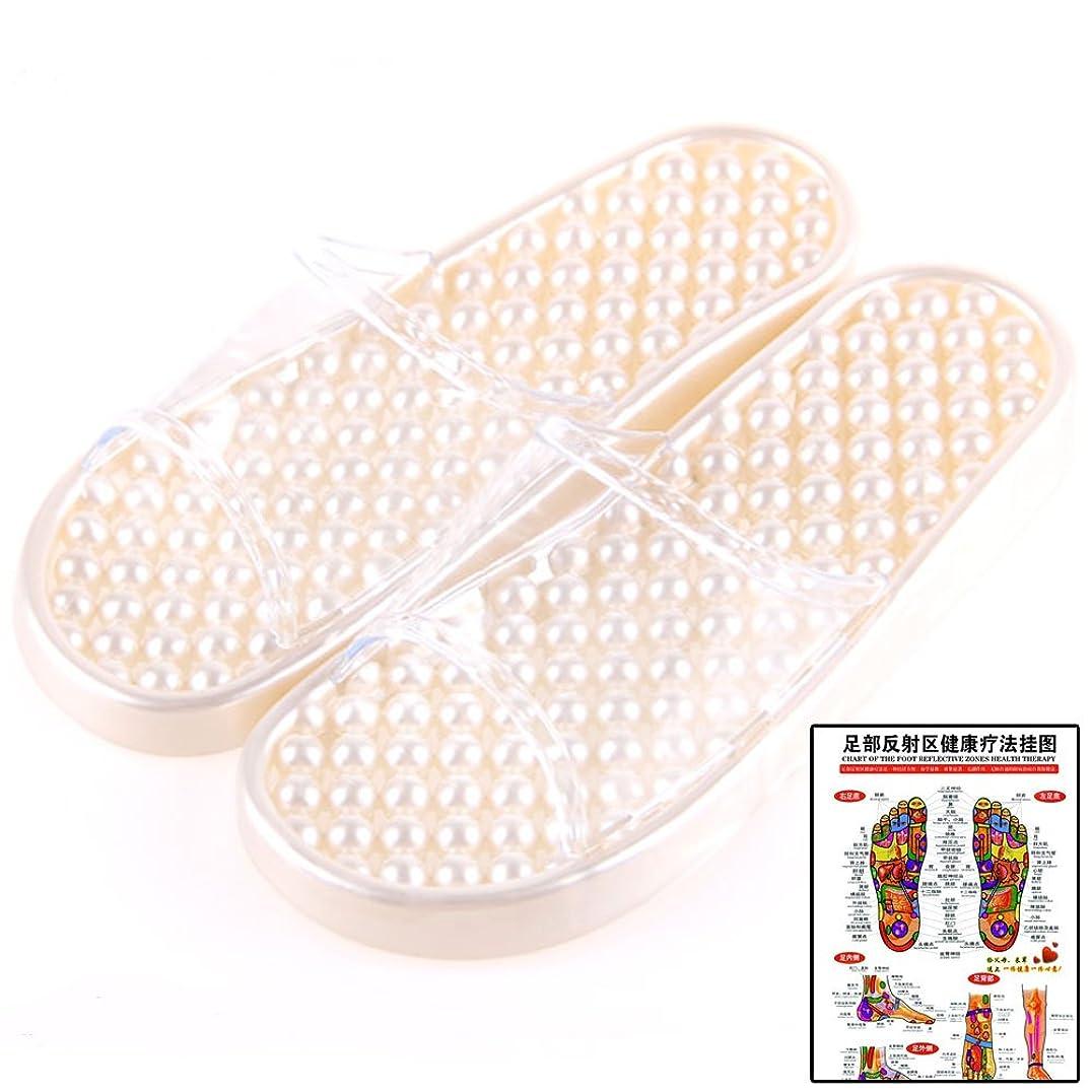不潔急性からかう(マイカイラボ)MAIKAI LAB 履くだけ 足つぼ 健康サンダル 足 ツボ マップ セット パールホワイト M
