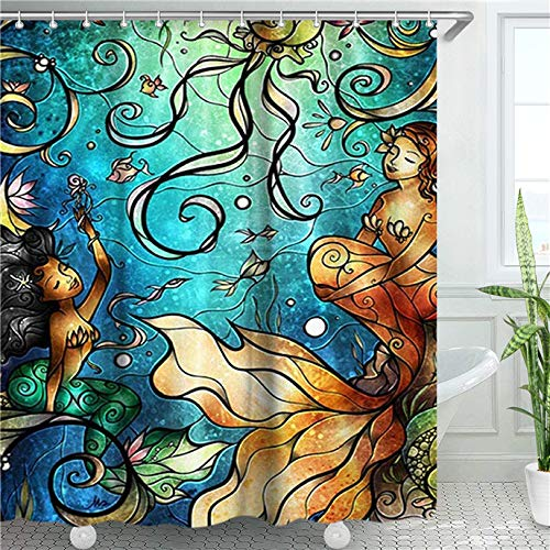 LIVILAN Meerjungfrauen-Duschvorhang, Quallen-Stoff, Badezimmer-Gardinen-Set mit Haken, Meerestiere, Badezimmerdekoration, waschbar, 183 x 183 cm
