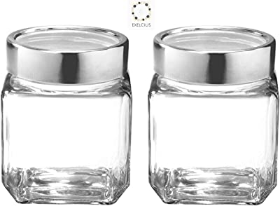 Exelcius® -Glass Cube Jar Set of 2 (580 Ml)