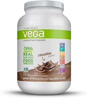 Vega Essentials Shake Chocolate(30 Servings, 38.1 Ounce) - Plant Based Vegan Protein Powder, Non Dairy, Keto-Friendly, Gluten Free,  Smooth and Creamy, Non GMO