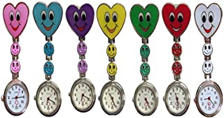 Weicam Heart Smile Face Nurse Hanging Wholesale Watch Clip On Fob Brooch Quartz Pocket Watch(7 Pack)