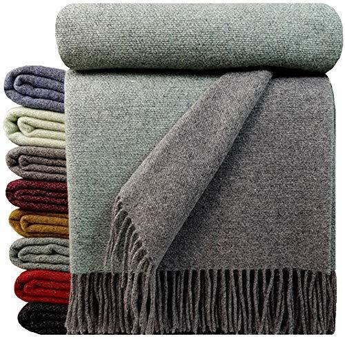 STTS International Wohndecke Wolldecke Decke sehr weiches Plaid Kuscheldecke 140 x 200 cm Wolle Milano/Verona Minze-Grau (Double face)