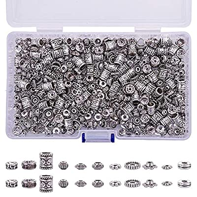 KeyZone Direct Antique Tibetan Silver Spacer Beads 600pcs 12 Style Charm Bead Spacers for Jewelry Making Bracelets Necklace