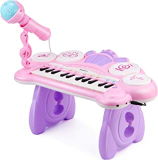 Kiddire 24 Keys Toddler Toy Keyboard with Microphone, 4 Drums, Build-in MP3 Songs, for 18M+,1 2 3 Year Old Kids, Baby, Birthday Christmas Gift, Educational Toy Piano, Pink