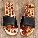 FYSY Suave Único Piscina Zapatos Baño, Piedra del Punto de acupuntura del Masaje del pie Zapatillas-Black_44-45, Suave Único Piscina Zapatos Baño fangkai77