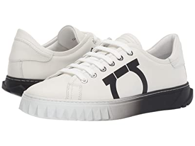 Salvatore Ferragamo Cube 8 Logo Low Top Sneaker (White Intense Swilly Calf 1) Women