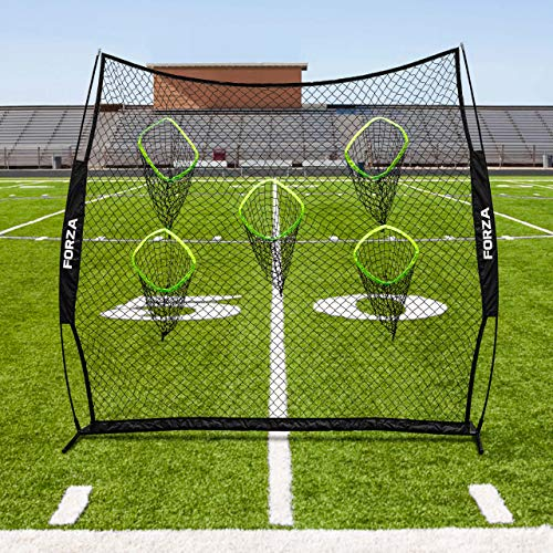 FORZA American Football Quaterback Trainingsnetz - 2,4m x 2,4m tragbares QB Netz mit Tragetasche und U-Stifte aus Stahl