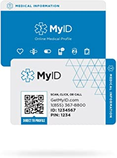 MyID Medical Wallet Card - Emergency Information - Ice Card - in Case of Emergency - Free Online Medical ID Profile - Store Information for Emergencies - Great for Those with Medical Conditions