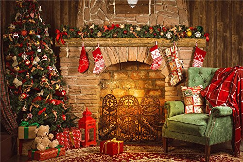 Daniu Christmas eve Photography Backdrops Christmas Room Fireplace Chair Photo Studio Props Vinyl Background 7x5FT