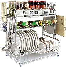 Kitchen Storage Rack Multi-Function Dish Rack/Spice Rack 304 Stainless Steel Cutlery for Kitchen, Storage