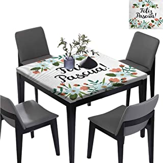 williamsdecor Feliz Pascua Easter Indoor Square Table Cloth, Elastic on The Corner Washable Dust-Proof Table Cover for Kitchen Dinning Party, 59W x 59L Inches(Elastic Edge)