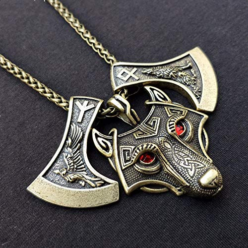 Vintage Gothic Wolf und Krähe geschnitzt auf der slawischen Axt Amulett Halskette Antik versilbert